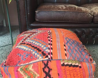 """SALE Pink handmade and unique kilim Moroccan pouf,poef,osmane,puff,ottoman,foot stool,floorpillow """" Comes with filling"""""""