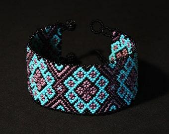 Turquoise Purple Huichol Bracelet, Peyote Bracelet, Native American Beaded Bracelet, Beaded Cuff Bracelet, Seed Bead Jewelry, Authentic