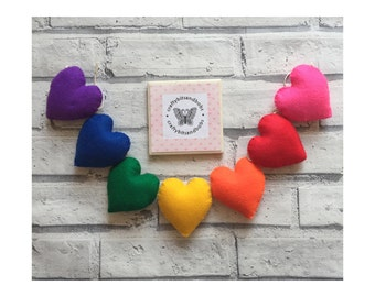 Rainbow heart garland, nursery decor, wedding decor, wall hanging, heart bunting