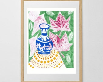 Pot and plant print, colourful, linocut print, illustration