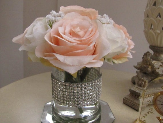Silk flower arrangement centerpiece white light pink rose