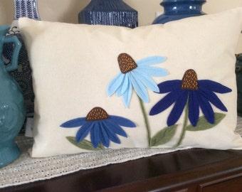 Blue Cone Flower Pillow Cover,  Felt  Flower Applique Pillow Cover, Decorative Flower Pillow, Accent Pillow, Wedding Pillow, Lumbar Pillow