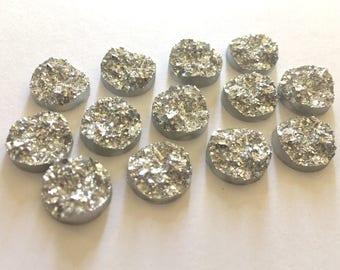 12mm Druzy Cabochons, Silver Glitter, jewelry making kit, earring set, diy jewelry, druzy studs, 12mm Druzy, cabochon, stud earrings