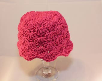 Crochet Baby Hat, Pink Hat, Newborn, Baby Gift, Gift Idea, Crochet Gift, Handmade Gift, Crochet Baby Gift, Photography, READY TO SHIP