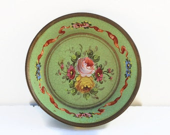 French Vintage small floral  dish,plate ,bon bon dish ,hand painted ,home decor