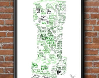 Personalised Minecraft Creeper Steve Gaming Word Art Gift Print A4 PS4 Xbox Birthday Father's Day - FREE UK P+P 21x30cm