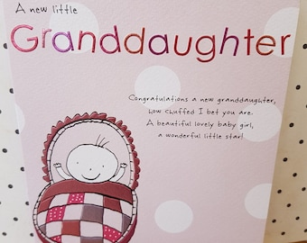 New Granddaughter card pastel pink foils, A wonderful star is born greeting card, Brilliant news congratulations on your new Granddaughter