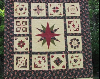 Handmade quilt, black and burgundy quilt, handmade quilt, queen size quilt, black and red quilt