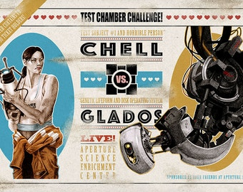 "Chell vs. Glados 11""x17"" Fight Poster"