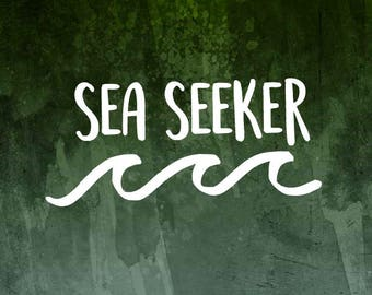 Sea Seeker Wave Decal for Cars, YETI Cups, MacBooks, Laptops, Tablets and more!   Surfing / Ocean Decal   Decal for women   Wave Decal