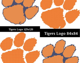 Clemson Tigers Logo -- Counted Cross Stitch Chart Patterns, 4 variants!
