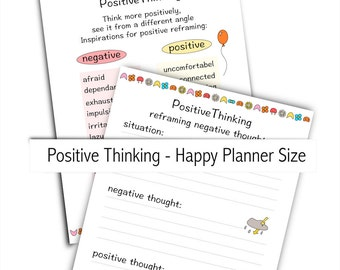 depression help : positive thinking - instant download - printable Happy Planner inserts - commercial use allowed - worksheet journal