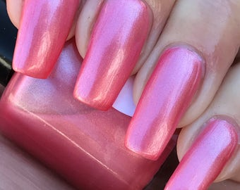 Create Happiness  shimmery coral pink nail polish