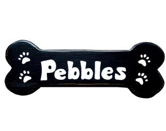 Small Pet Name Sign, With Paw Prints, Bone Shape Sign, Family Pet Name, Personalized Pet Sign, Doghouse Sign, Wooden Sign, Dog Name Sign,