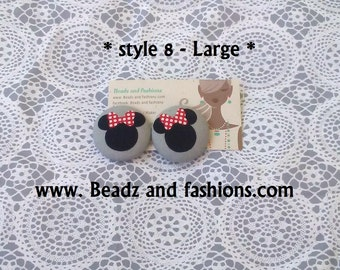Minnie Mouse gray fabric cover button earrings