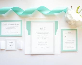 Stylish Wedding Invitations, Mint and Silver Wedding Invitations, Mint Green, Mint Blue, Color Customize! - Deposit