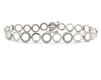 "14K White Gold O Link Diamond Tennis Bracelet 6 7/8"" 1.00 carat"