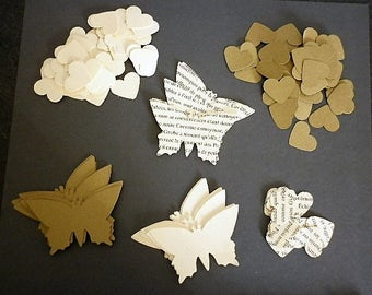 140 punch hearts, mixed butterflies - recycled vintage french book pages - decor fete, birthday, marriage, scrapbooking