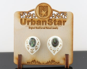 "Hand Carved- ""Victorian Crest"" - Bone with Abalone Inlay Stud Earring - Urban Star Original"