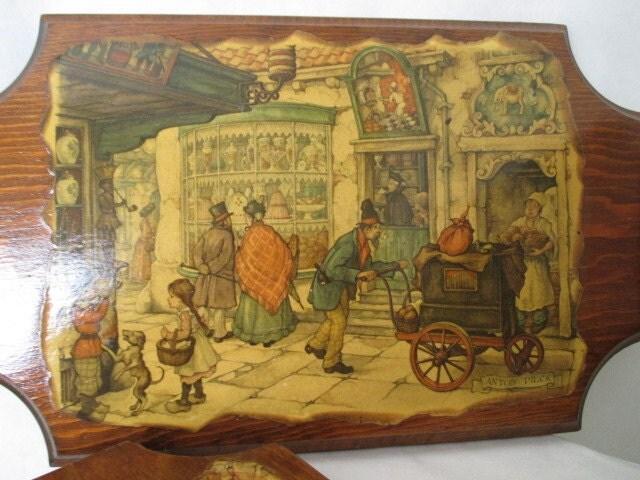 Vintage wood plaques, retro 1970\'s decor, handmade woodwork, 70\'s ...