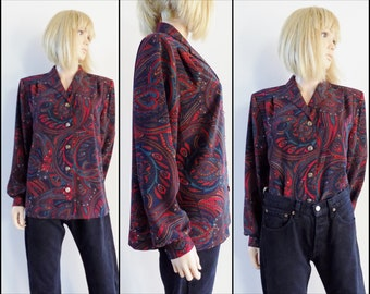 Red blue paisley loose blouse womans blouse shirt top long sleeve blouse size large