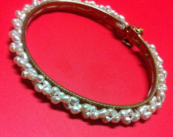 Vintage 1950's Gold and Pearl Bracelet with Ruby Clasp