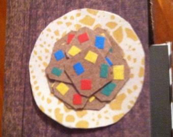 Dollhouse Miniature M&M Chocolate Chip Cookies~Miniature Plate~Miniature Food