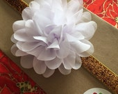 "3.75"" White Chiffon Flower Headband - Oversized Large White Flower w. Gold Glitter and Sparkle FOE Fold Over Elastic"