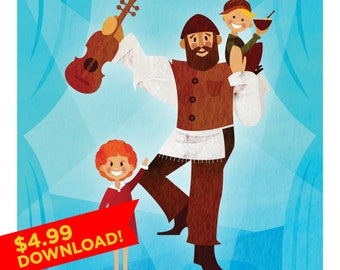 Musical | Annie, Fiddler on the Roof, Oliver Twist | Illustration |  | Broadway | Wall Art | Poster | Geek Gift