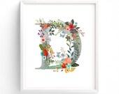 Letter D,  Floral, Printable Letter Monogram, Nursery Art. Art Prints, Baby Girl Nursery, Wall art Prints