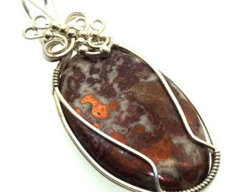 Copper In Quartz Gemstone Wire Wrapped Pendant Design 3
