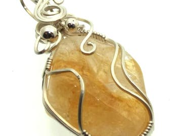 Citrine Gemstone Wire Wrapped Pendant Design 1