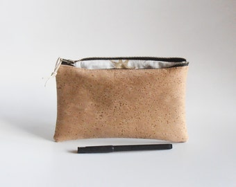 little pencil case  Cork-leather, golden stars, chiq Pouch,make-up case,pencil case,cosmetic pouch,for her,gift idea