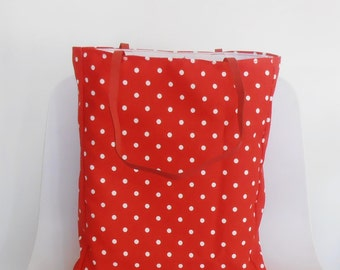 bag Tote Bag red polkadots,  with leather straps,  white dots