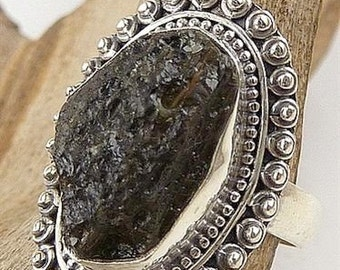 MOLDAVITE MONEY RING; natural stone jewelry, meteorite, the heart chakra, lithotherapy care minerals T 53 F225.11