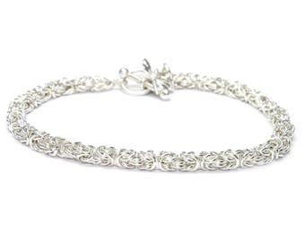 Sterling Silver Byzantine Bracelet, Byzantine Chainmaille Bracelet, Sterling Silver Bracelet, Handmade Silver Bracelet