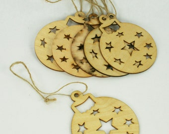 6 Unfinished Wood Laser Cut BALL CUTOUT Ornaments with Strings