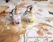 Budgie Cockatiel Crystal bottle Charms - Rose Quartz / Citrine