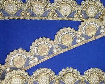Fancy Diamante Pearls Beaded Gold Indian Lace Trim 5 cm wide Ethnic Ribbon Sewing Craft Wedding Sari Border. Trim by 1 Yard