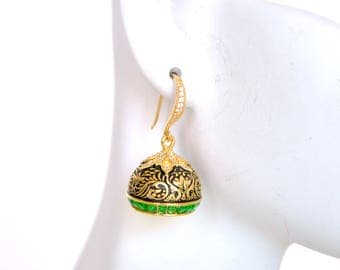 Oxidised gold plated mughal inspired meenakari worked jhumki earrings | Indian Kundan Jewelry earrings |