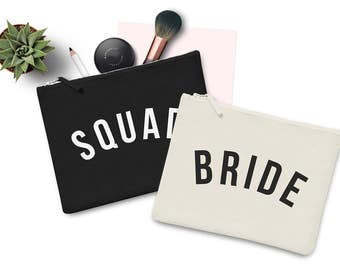 Bride Squad Wedding Party Makeup Bag Case Make up Gift Clutch Bridesmaid Hen Party Flower Girl Gift Groom