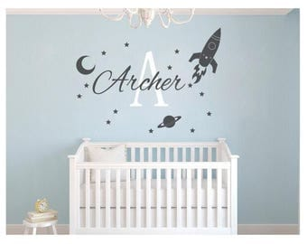 Rocket Wall Decal Boys Name Vinyl Wall Decal - Rocket Name Wall Decal - Baby Nursery Boy Personalized Decal