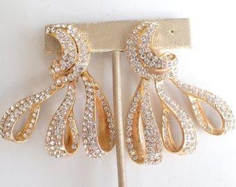 JARIN earrings Runway Couture gold tone rhinestone dangles AB125