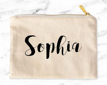Personalized Makeup Bag, Custom Cosmetic Bag, Personalized For Her, Canvas Pouch, Gift for Mom, Gift for Sister, Boss, Canvas Makeup Bag