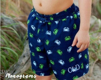 Embroidered Boys Swim Shorts, Boys Swim Trunks, Toddler Swimwear, Crabs Swimsuit, Personalized Swim Trunks, Boys Swimwear, Boys Swim Shorts,