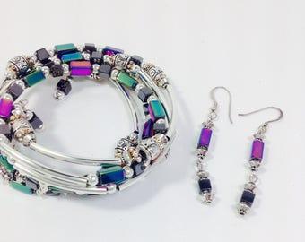 Silver/glass bead wrap bracelet & earrings
