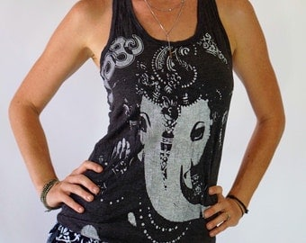 Women's Dark Ganesh OM 100% Comfy cotton PreShrunk Women's Racerback Tank Top Elephant Screenprint Yoga Active wear