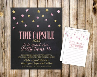 Digital TIME CAPSULE SIGN & Card, First Birthday Time Capsule Note Card, Twinkle Twinkle Little Star, Printable Baby Shower Dear Baby Cards