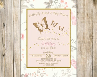BUTTERFLY FIRST BIRTHDAY Invitation, Blush Pink Gold Butterflies Invite, Floral Girl 1st Birthday Party, Rustic Enchanted Garden Invites