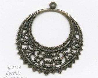 Oxidized brass filigree pendant. 40x37mm. Pkg. of 2. B9-2293(e)